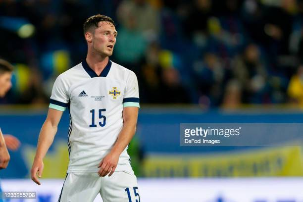 Jordan Thompson of Northern Ireland looks on during the international friendly match between Ukraine and Northern Ireland at Dnipro-Arena on June 3,...