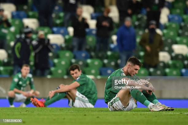 Jordan Thompson of Northern Ireland reacts after the UEFA EURO 2020 Play-Off Final between Northern Ireland and Slovakia at Windsor Park on November...