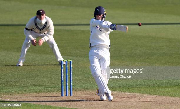 Jordan Thompson of Yorkshire bats during the LV= Insurance County Championship match between Kent and Yorkshire at The Spitfire Ground on April 15,...