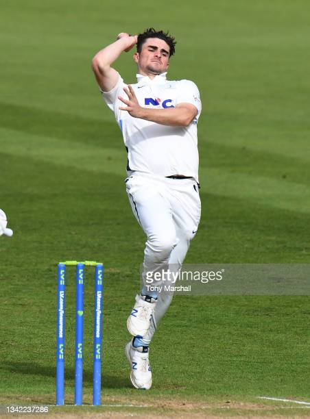Jordan Thompson of Yorkshire bowls during the LV= Insurance County Championship match between Nottinghamshire and Yorkshire at Trent Bridge on...