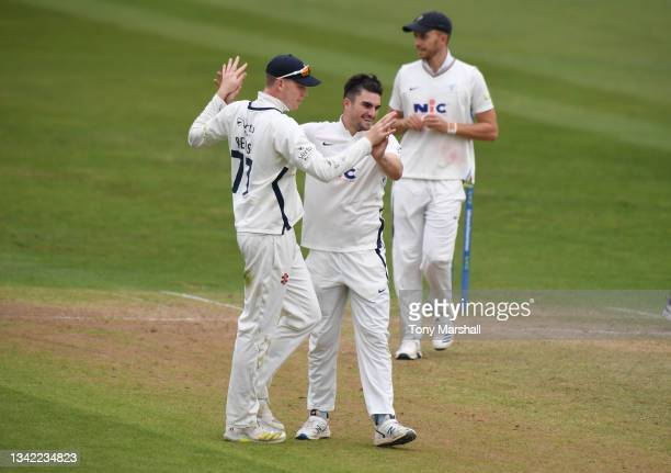 Jordan Thompson of Yorkshire celebrates taking the wicket of Ben Duckett of Nottinghamshire during the LV= Insurance County Championship match...