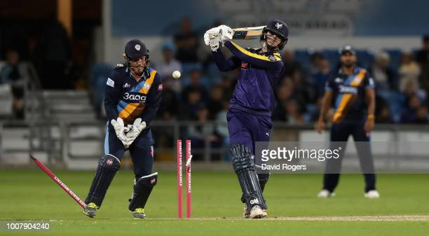 Jordan Thompson of Yorkshire is bowled by Alex Hughes during the Vitality Blast match between Yorkshire Vikings and Derbyshire Falcons at Headingley...