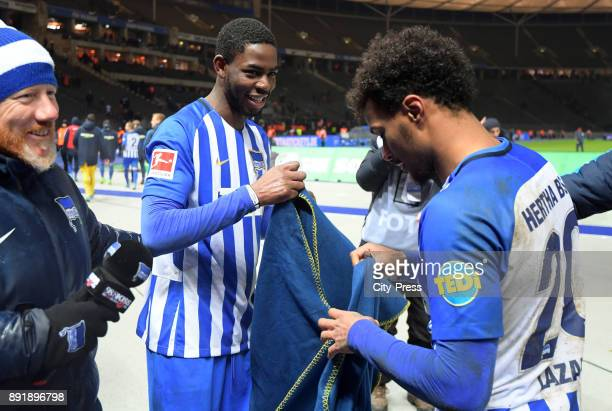 Jordan Torunarigha and Valentino Lazaro of Hertha BSC after the game between Hertha BSC and Hannover 96 on december 13 2017 in Berlin Germany