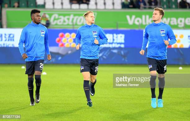 Jordan Torunarigha Arne Maier and Sebastian Langkamp of Hertha BSC before the game between VfL Wolfsburg and Hertha BSC on november 5 2017 in...