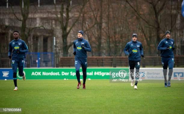 Jordan Torunarigha Arne Maier Vladimir Darida and Vedad Ibisevic of Hertha BSC before the test match between Hertha BSC and Arminia Bielefeld at the...