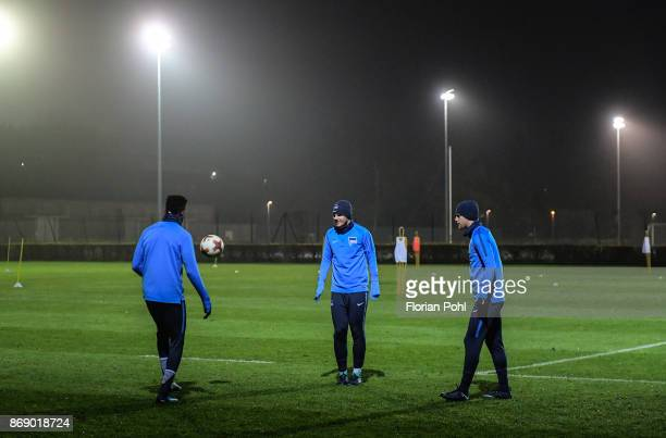 Jordan Torunarigha Florian Baak and Arne Maier of Hertha BSC during the training on november 1 2017 in Berlin Germany