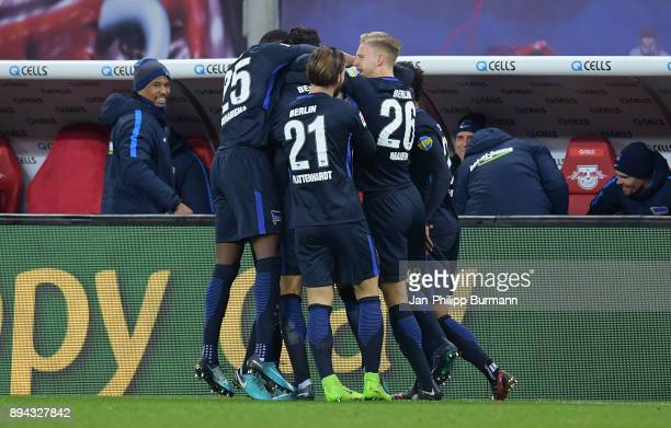 Jordan Torunarigha Marvin Plattenhardt Arne Maier and Valentino Lazaro of Hertha BSC celebrate after scoring the 01 during the game between RB...