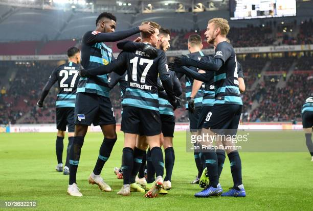 Jordan Torunarigha Maximilian Mittelstaedt Mathew Leckie and Fabian Lustenberger of Hertha BSC celebrate after scoring the 01 during between VfB...