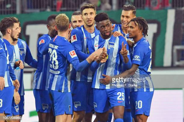 Jordan Torunarigha of Berlin celebrates his teams first goal during the Bundesliga match between Hannover 96 and Hertha BSC at HDIArena on December 1...