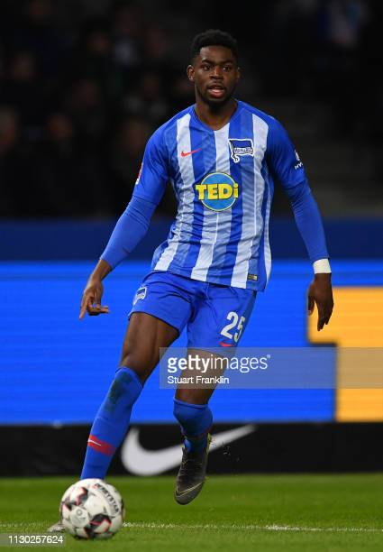 Jordan Torunarigha of Berlin in action during the Bundesliga match between Hertha BSC and SV Werder Bremen at Olympiastadion on February 16 2019 in...