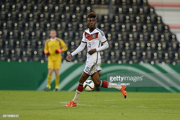 Jordan Torunarigha of Germany handles the ball during the U19 MercedesBenz Elite Cup between Germany and Mexico at Mechatronik Arena on October 9...