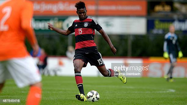Jordan Torunarigha of Germany plays the ball during the U19 international friendly match between Netherlands and Germany on September 7 2015 in...