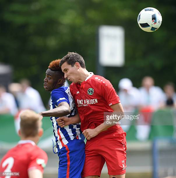 Jordan Torunarigha of Hertha BSC and Steffen Witte of Hannover 96 during the DFB juniors cup match between Hertha BSC and Hannover 96 on may 21 2016...