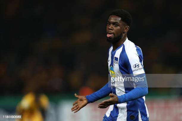 Jordan Torunarigha of Hertha BSC celebrates after scoring his sides third goal during the DFB Cup second round match between Hertha BSC and Dynamo...