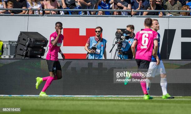 Jordan Torunarigha of Hertha BSC celebrates the second goal for his team during the Bundesliga match between SV Darmstadt 98 and Hertha BSC at...