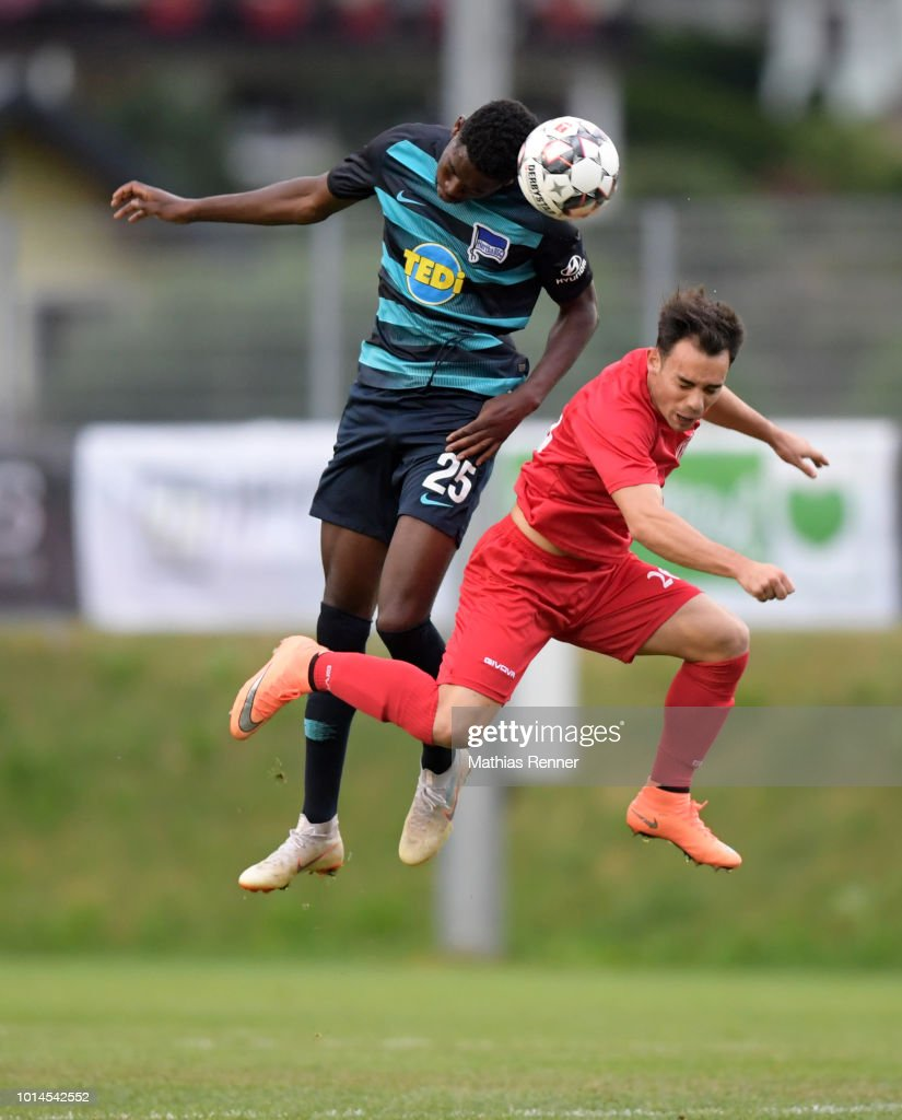 Jordan Torunarigha of Hertha BSC during the test test match between Hertha BSC and Aiginiakos FC at the Athletic Area Schladming on august 10, 2018 in Schladming, Austria.