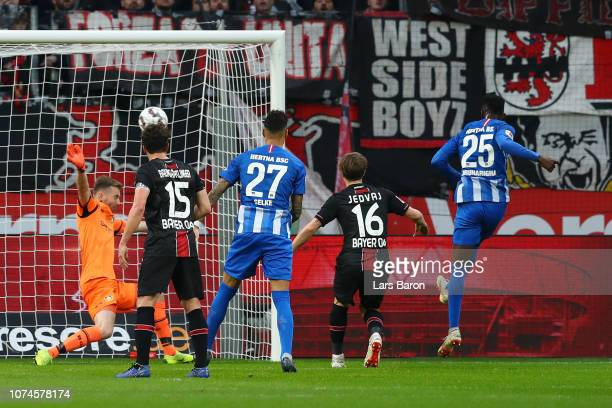 Jordan Torunarigha of Hertha BSC scores his team's first goal during the Bundesliga match between Bayer 04 Leverkusen and Hertha BSC at BayArena on...