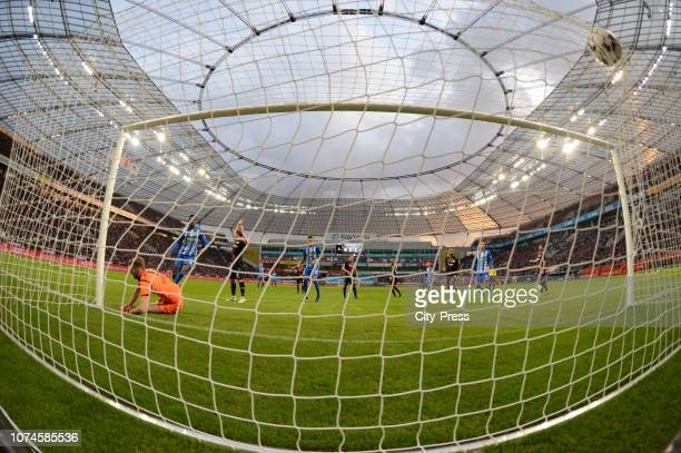Jordan Torunarigha of Hertha BSC scores the 21 during the Bundesliga match between Bayer 04 Leverkusen and Hertha BSC at the BayArena on december 22...