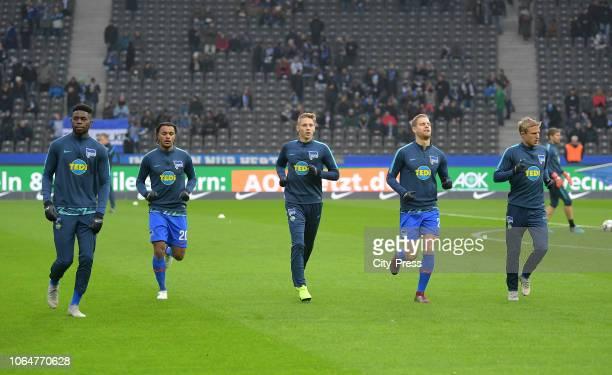 Jordan Torunarigha Valentino Lazaro Palko Dardai Arne Maier and Per Skjelbred of Hertha BSC before the Bundesliga match between Hertha BSC and TSG...