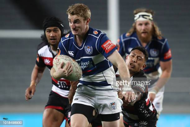 Jordan Trainor of Auckland breaks away during the round one Mitre 10 Cup match between Auckland and Counties Manukau at Eden Park on August 18 2018...