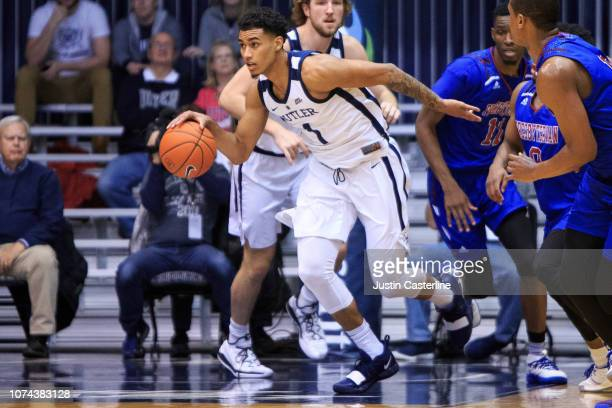 Jordan Tucker of the Butler Bulldogs brings the ball up the court in the game against the Prebyterian Blue Hose in the first half at Hinkle...