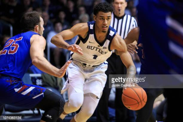 Jordan Tucker of the Butler Bulldogs drives to the basket in the game against the Prebyterian Blue Hose in the first half at Hinkle Fieldhouse on...