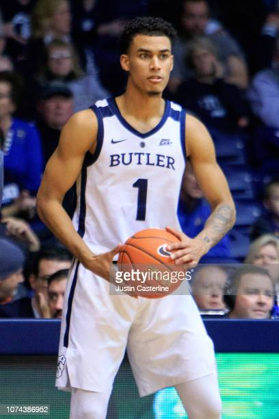 Jordan Tucker of the Butler Bulldogs looks to pass the ball in the game against the Presbyterian Blue Hose in the second half at Hinkle Fieldhouse on...