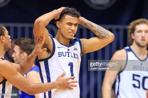 Jordan Tucker of the Butler Bulldogs reacts after a play in the game against the Presbyterian Blue Hose in the second half at Hinkle Fieldhouse on...