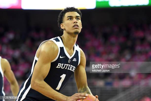 Jordan Tucker of the Butler Bulldogs takes a foul shot during a college basketball game against the Creighton Bluejays at the CHI Health Center on...