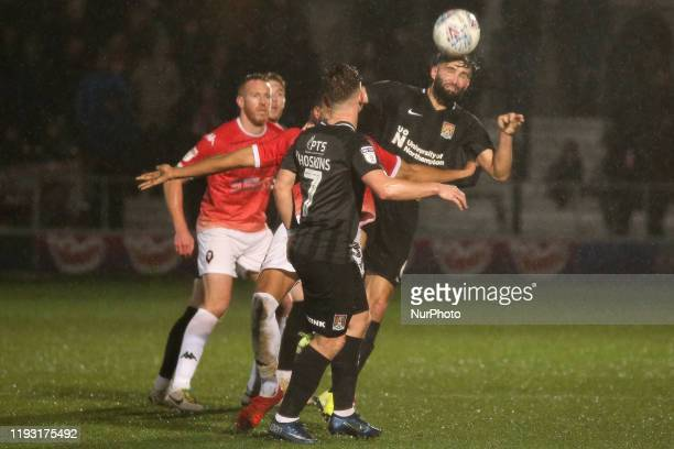 Jordan Turnbull of Northampton Town FC attempts a header during the Sky Bet League 2 match between Salford City and Northampton Town at Moor Lane...