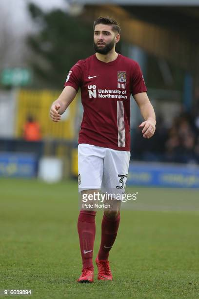 Jordan Turnbull of Northampton Town in action during the Sky Bet League One match between AFC Wimbledon and Northampton Town at The Cherry Red...