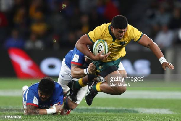 Jordan Uelese of the Wallabies Is tackled during the International Test match between the Australian Wallabies and Manu Samoa at Bankwest Stadium on...
