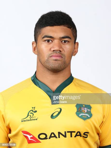 Jordan Uelese poses during the Australian Wallabies headshot session on May 7 2018 in Gold Coast Australia
