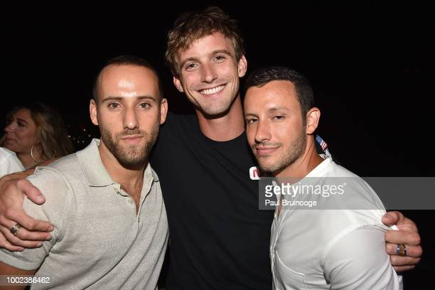 Jordan Ustin RJ King and Trevor Jacobson attend Brian Feit's 40th Birthday Party at 550 West 29th Street on July 19 2018 in New York City