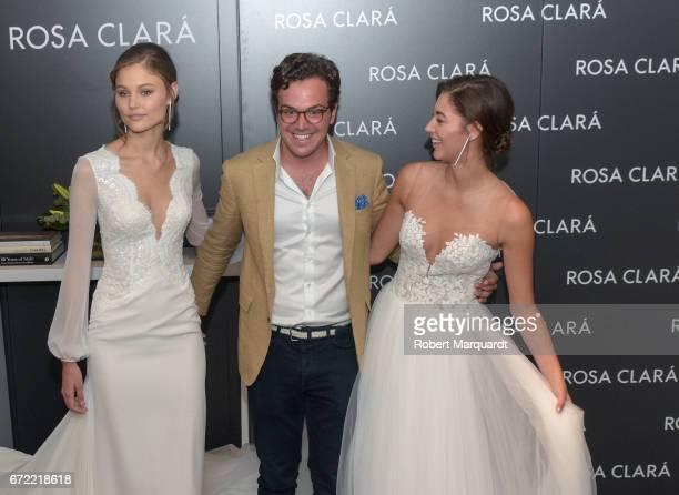 Jordan van der Vyver Dani Clara and Mariana Downing attend a bridal fitting at the Rosa Clara Bridal studio on April 24 2017 in Barcelona Spain