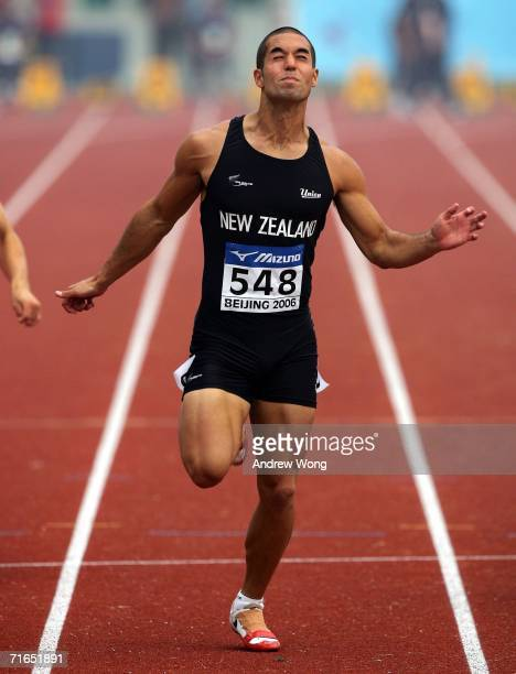 Jordan Vandermade of New Zealand crosses the finish line during a 100m heat of the men's decathlon during the 11th World Junior Athletics...