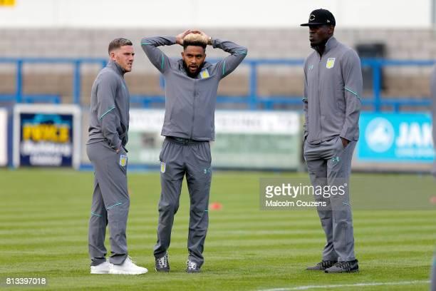 Jordan Veretout Jordan Amavi and Christopher Samba of Aston Villa look on during the PreSeason Friendly between AFC Telford United and Aston Villa at...