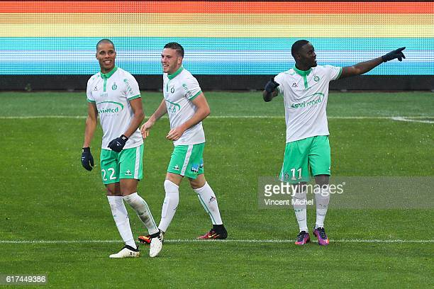Jordan Veretout, Kevin Monnet Paquet and Henri Saivet of Saint Etienne jubilate after the first goal during the Ligue 1 match between SM Caen and AS...