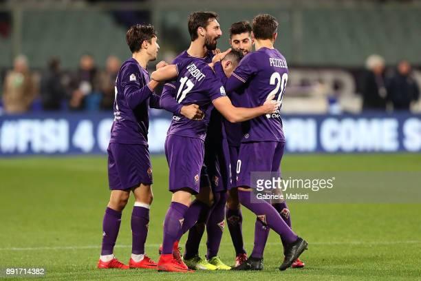 Jordan Veretout of ACF Fiorentina celebrates after scoring a goal during the Tim Cup match between ACF Fiorentina and UC Sampdoria at Stadio Artemio...