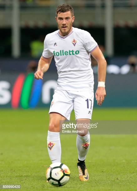 Jordan Veretout of ACF Fiorentina during the Serie A match between FC Internazionale and ACF Fiorentina at Stadio Giuseppe Meazza on August 20 2017...