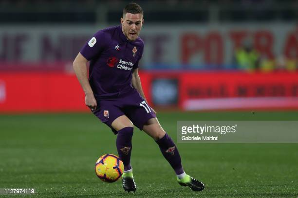Jordan Veretout of ACF Fiorentina in action during the Coppa Italia match between ACF Fiorentina and Atalanta BC on February 27 2019 in Florence Italy