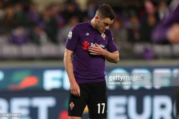Jordan Veretout of ACF Fiorentina reacts after misses a penalty during the Serie A match between ACF Fiorentina and US Sassuolo at Stadio Artemio...