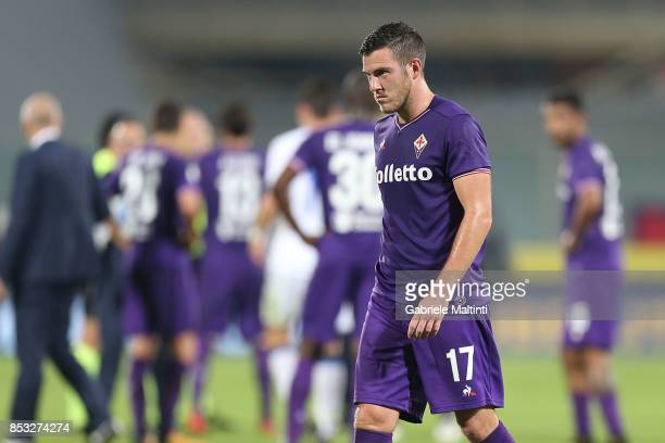 Jordan Veretout of ACF Fiorentina reacts during the Serie A match between FC Crotone and Benevento Calcio at Stadio Artemio Franchi on September 24...