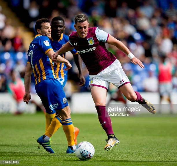 Jordan Veretout of Aston Villa during the PreSeason Friendly match between Shrewsbury Town and Aston Villa at the Greenhous Meadow on July 15 2017 in...