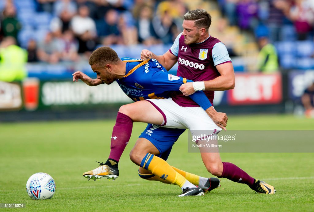 Jordan Veretout of Aston Villa during the Pre-Season Friendly match between Shrewsbury Town and Aston Villa at the Greenhous Meadow on July 15, 2017 in Shrewsbury, England.