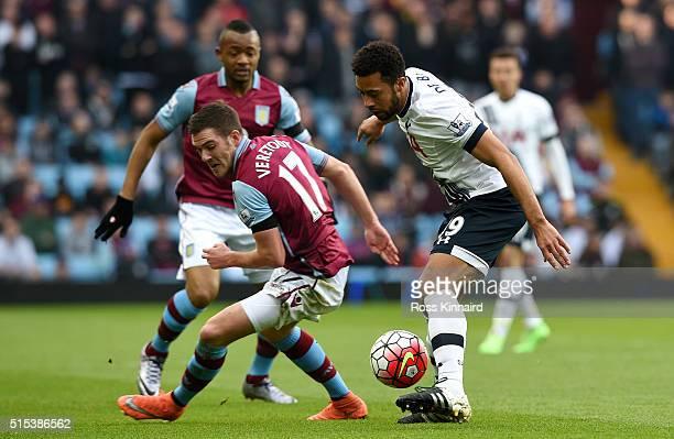 Jordan Veretout of Aston Villa takes on Mousa Dembele of Tottenham Hotspur during the Barclays Premier League match between Aston Villa and Tottenham...