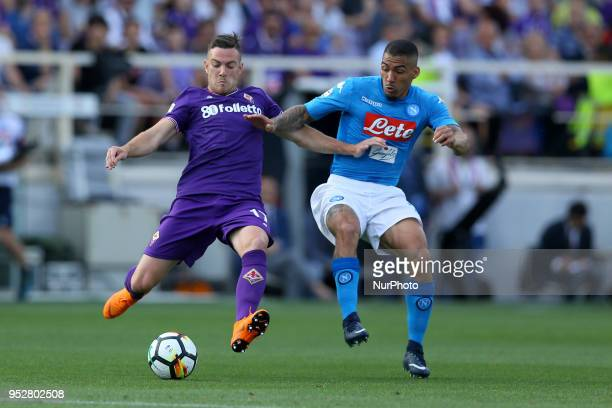Jordan Veretout of Fiorentina and Allan Loudeiro of Napoli at Artemio Franchi Stadium in Florence Italy on April 29 during Serie A match between ACF...