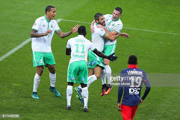 Jordan Veretout of Saint Etienne jubilates with teammates after scoring the second goal during the Ligue 1 match between SM Caen and AS SaintEtienne...