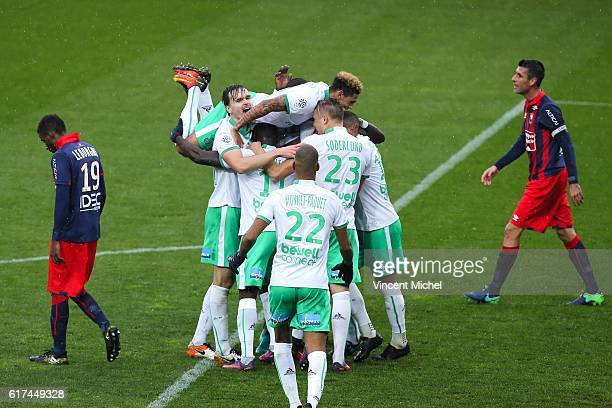 Jordan Veretout of Saint Etienne jubilates with teammates after scoring the second goal during the Ligue 1 match between SM Caen and AS Saint-Etienne...