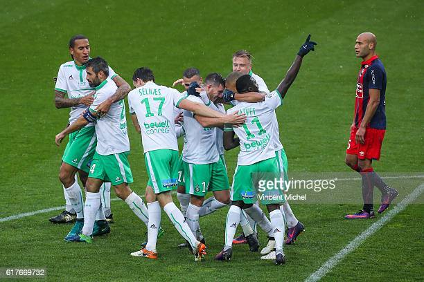 Jordan Veretout of Saint-Etienne jubilates with teammates after scoring the second goal during the Ligue 1 match between SM Caen and AS Saint-Etienne...
